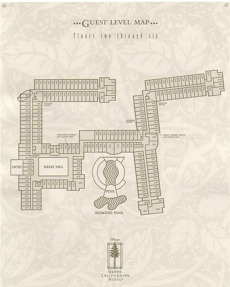 Grand Californian Hotel Map